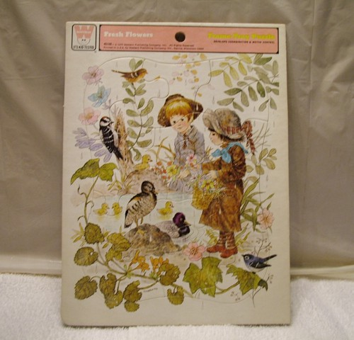 Trame-Tray Puzzle, Jigsaw Puzzle, Whitman, Fresh Flowers, Western Publishing Company, Whitman 4513B Giordano,