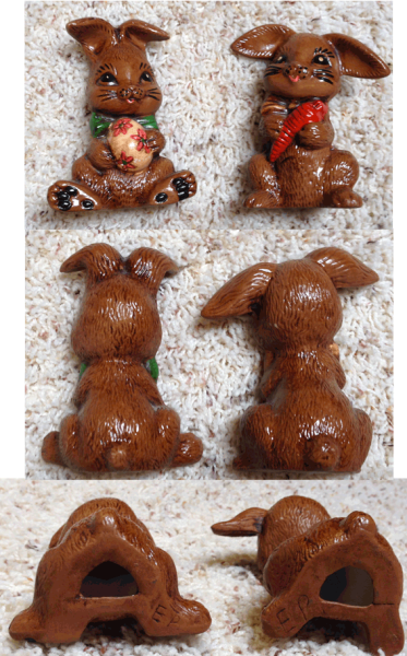 Ceramic, Brown Bunnies, Easter Egg, Carrot, Pair of Rabbits, Rabbit, Bunny, Hare,