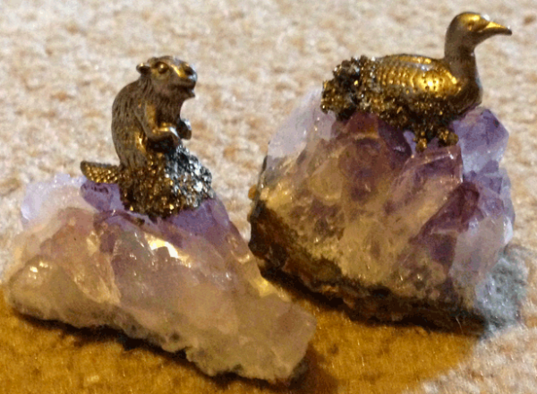 Canada, Beaver, Loon, Amethyst, Decoration, Figurine, Pewter