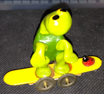 Tortoise, Turtle, Skateboard, Lady Bug, Figurine, Aviva, Freddy B Turtle, 1972