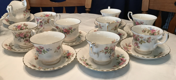 Royal Albert Bone China, Moss Rose Pattern, Tea Cups and Saucers